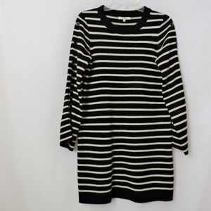 Madewell Cream and Black Striped Sweater Dress
